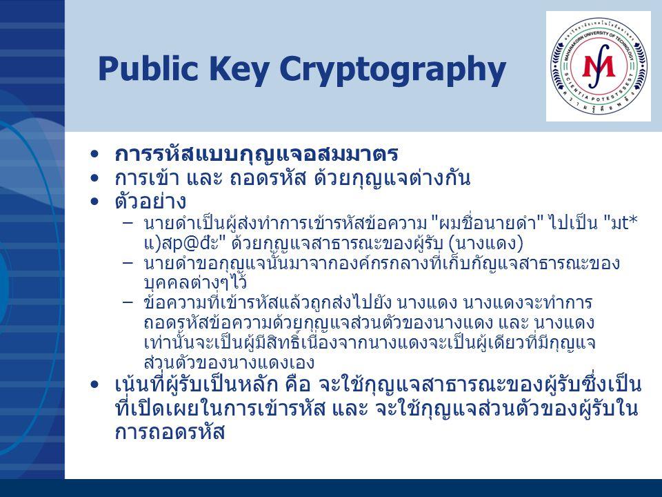 Public Key Cryptography การรหัสแบบกุญแจอสมมาตร การเข้า และ ถอดรหัส ด้วยกุญแจต่างกัน ตัวอย่าง –นายดำเป็นผู้ส่งทำการเข้ารหัสข้อความ