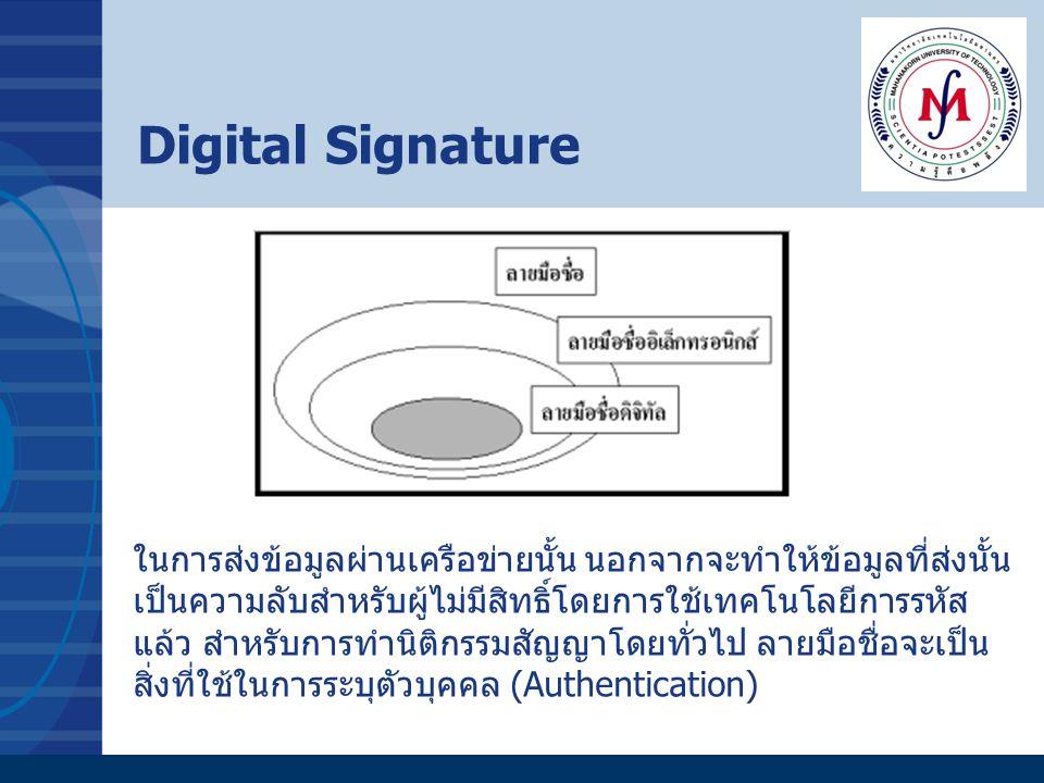 Digital Signature ในการส่งข้อมูลผ่านเครือข่ายนั้น นอกจากจะทำให้ข้อมูลที่ส่งนั้น เป็นความลับสำหรับผู้ไม่มีสิทธิ์โดยการใช้เทคโนโลยีการรหัส แล้ว สำหรับกา