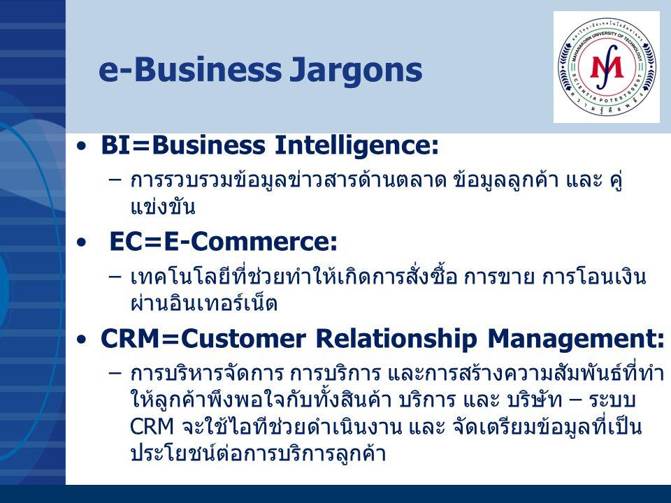 e-Business Jargons BI=Business Intelligence: –การรวบรวมข้อมูลข่าวสารด้านตลาด ข้อมูลลูกค้า และ คู่ แข่งขัน EC=E-Commerce: –เทคโนโลยีที่ช่วยทำให้เกิดการ