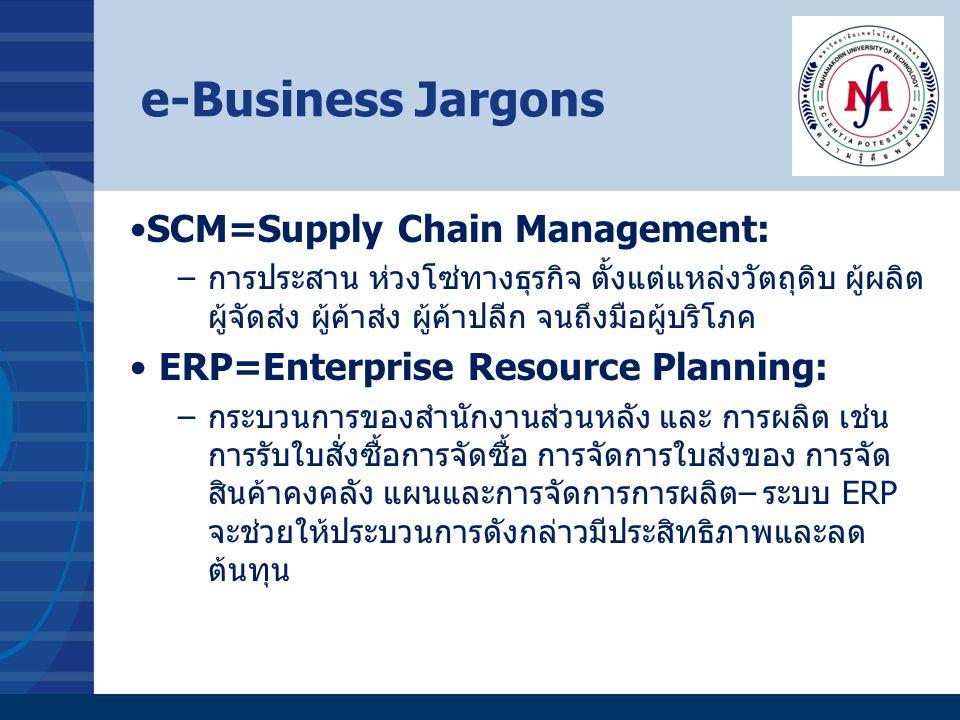 e-Business Jargons SCM=Supply Chain Management: –การประสาน ห่วงโซ่ทางธุรกิจ ตั้งแต่แหล่งวัตถุดิบ ผู้ผลิต ผู้จัดส่ง ผู้ค้าส่ง ผู้ค้าปลีก จนถึงมือผู้บริ