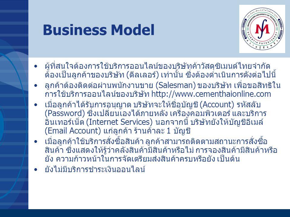 Business Model ผู้ที่สนใจต้องการใช้บริการออนไลน์ของบริษัทค้าวัสดุซิเมนต์ไทยจำกัด ต้องเป็นลูกค้าของบริษัท (ดีลเลอร์) เท่านั้น ซึ่งต้องดำเนินการดังต่อไป