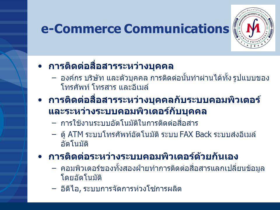 e-Commerce Benefits ประหยัดค่าใช้จ่าย –ลดค่าใช้จ่ายบุคลากรบางส่วน ลดขั้นตอนการประกอบ ธุรกิจ ประหยัดค่าใช้จ่ายในการติดต่อแบบเดิมๆ ไม่มีข้อจำกัดด้านสถานที่ –สามารถเข้าถึงลูกค้าได้ทั่วโลก (หมายความว่าต้องสร้าง เว็บไซต์ให้มีข้อมูลเป็นภาษาสากลหรือภาษาที่กลุ่มลูกค้า เป้าหมายของเราใช้มากๆ เช่นภาษาจีน ญี่ปุ่น เป็นต้น) ไม่มีข้อจำกัดด้านเวลา –สามารถทำการค้าได้ 24 ชั่วโมง 7 วัน ผ่านระบบอัตโนมัติ