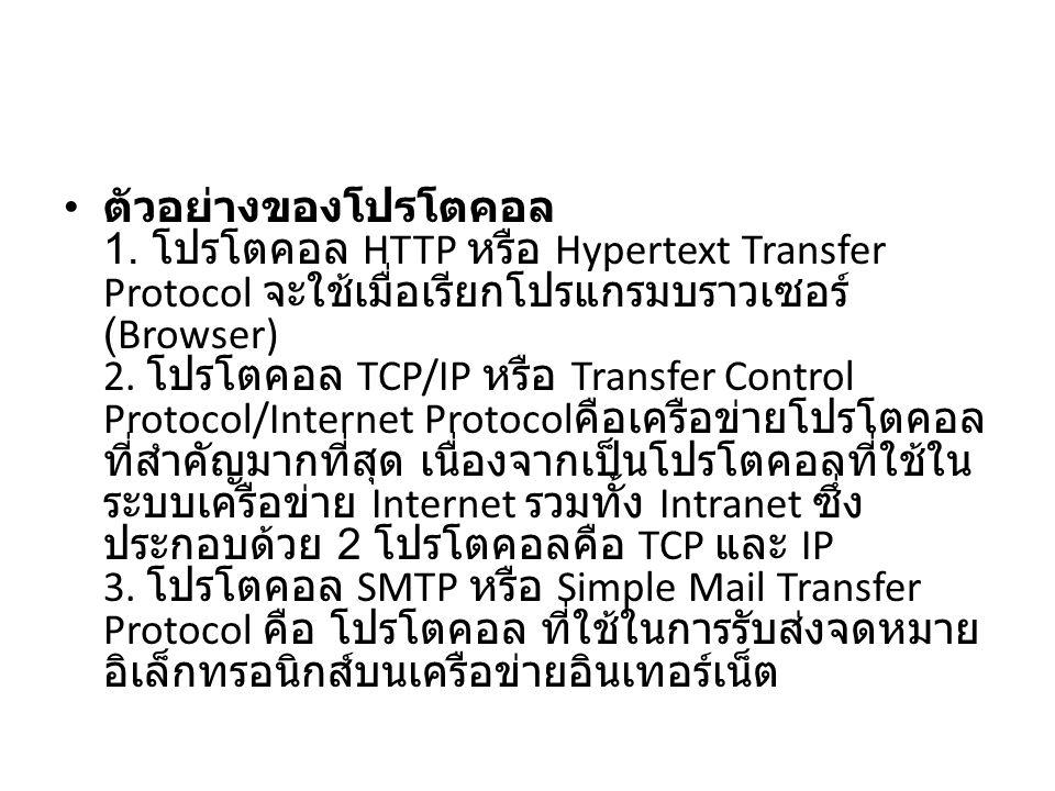 ตัวอย่างของโปรโตคอล 1. โปรโตคอล HTTP หรือ Hypertext Transfer Protocol จะใช้เมื่อเรียกโปรแกรมบราวเซอร์ (Browser) 2. โปรโตคอล TCP/IP หรือ Transfer Contr