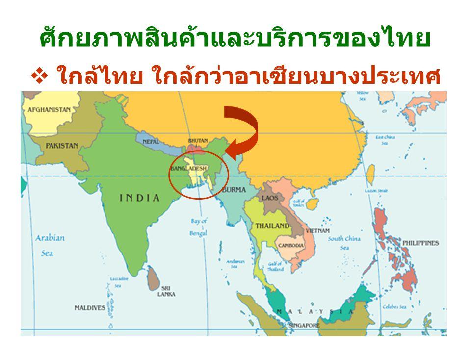 ศักยภาพสินค้าและบริการของไทย  ใกล้ไทย ใกล้กว่าอาเซียนบางประเทศ