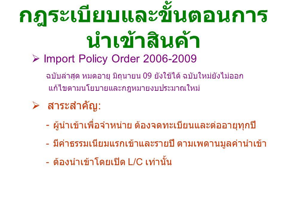 กฎระเบียบและขั้นตอนการ นำเข้าสินค้า  Import Policy Order 2006-2009 ฉบับล่าสุด หมดอายุ มิถุนายน 09 ยังใช้ได้ ฉบับใหม่ยังไม่ออก แก้ไขตามนโยบายและกฎหมาย