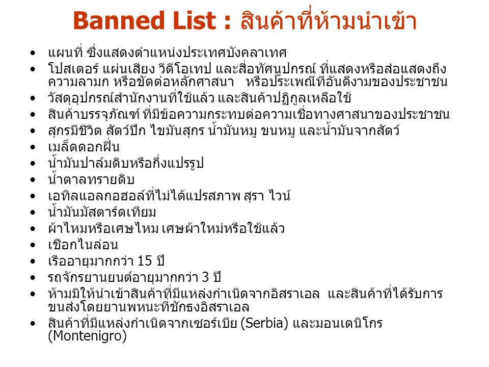 Banned List : สินค้าที่ห้ามนำเข้า แผนที่ ซึ่งแสดงตำแหน่งประเทศบังคลาเทศ โปสเตอร์ แผ่นเสียง วีดีโอเทป และสื่อทัศนูปกรณ์ ที่แสดงหรือส่อแสดงถึง ความลามก