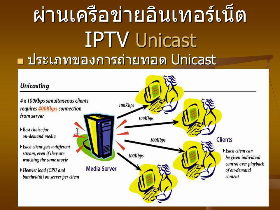 ผ่านเครือข่ายอินเทอร์เน็ต IPTV Unicast ประเภทของการถ่ายทอด Unicast ประเภทของการถ่ายทอด Unicast