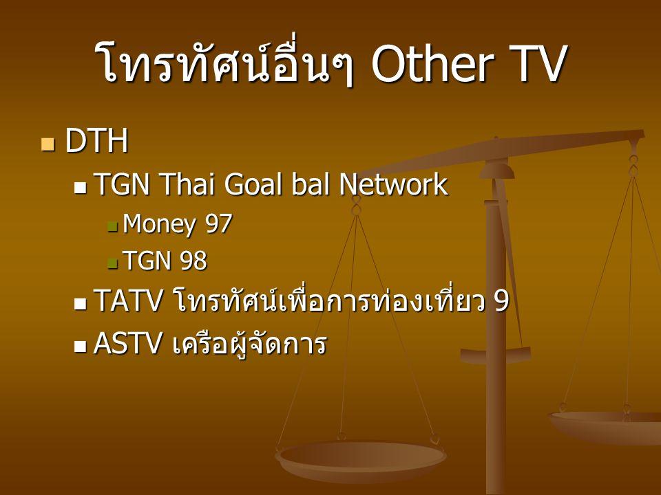 โทรทัศน์อื่นๆ Other TV DTH DTH TGN Thai Goal bal Network TGN Thai Goal bal Network Money 97 Money 97 TGN 98 TGN 98 TATV โทรทัศน์เพื่อการท่องเที่ยว 9 TATV โทรทัศน์เพื่อการท่องเที่ยว 9 ASTV เครือผู้จัดการ ASTV เครือผู้จัดการ