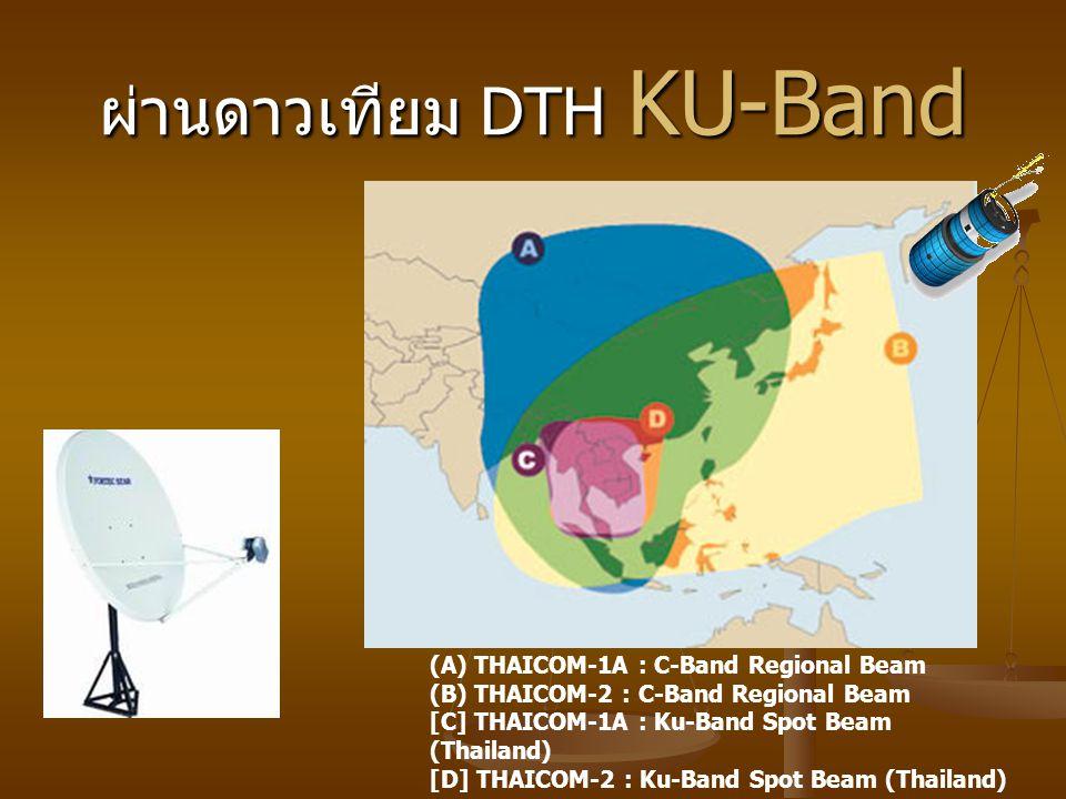ผ่านดาวเทียม DTH KU-Band (A) THAICOM-1A : C-Band Regional Beam (B) THAICOM-2 : C-Band Regional Beam [C] THAICOM-1A : Ku-Band Spot Beam (Thailand) [D] THAICOM-2 : Ku-Band Spot Beam (Thailand)