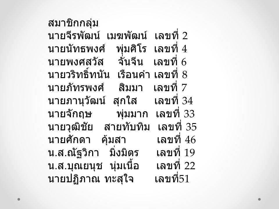 สมาชิกกลุ่ม นายจีรพัฒน์ เมฆพัฒน์ เลขที่ 2 นายนัทธพงศ์ พุ่มศิโร เลขที่ 4 นายพงศสวัส จั่นจีน เลขที่ 6 นายวริทธิ์ทนัน เรือนคำ เลขที่ 8 นายภัทรพงศ์ สิมมา เลขที่ 7 นายภานุวัฒน์ สุกใส เลขที่ 34 นายจักฤษ พุ่มมาก เลขที่ 33 นายวุฒิชัย สายทับทิม เลขที่ 35 นายศักดา คุ้มสา เลขที่ 46 น.