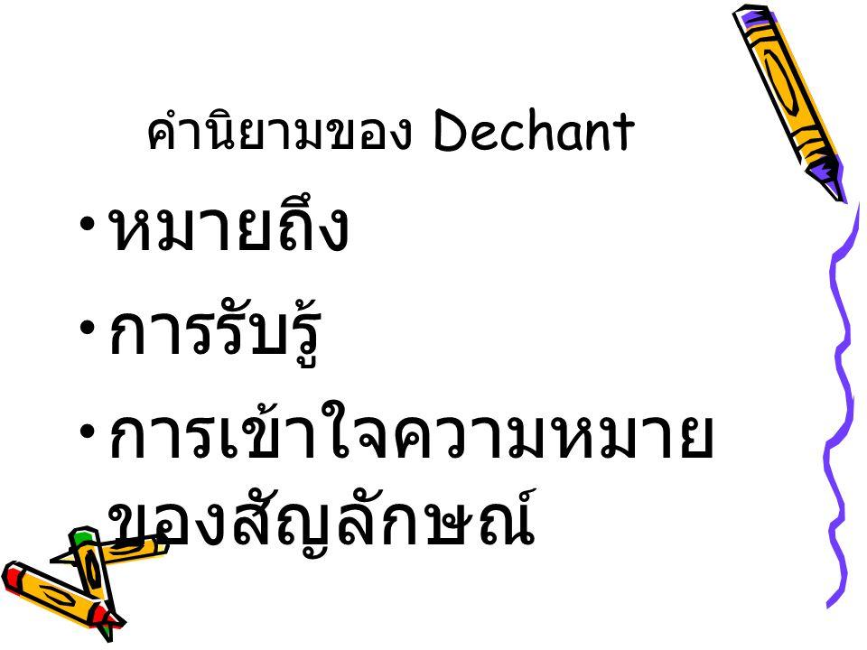คำนิยามของ Dechant หมายถึง การรับรู้ การเข้าใจความหมาย ของสัญลักษณ์