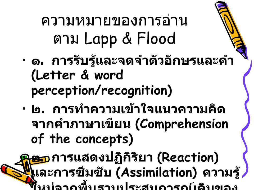 ความหมายของการอ่าน ตาม Lapp & Flood ๑.