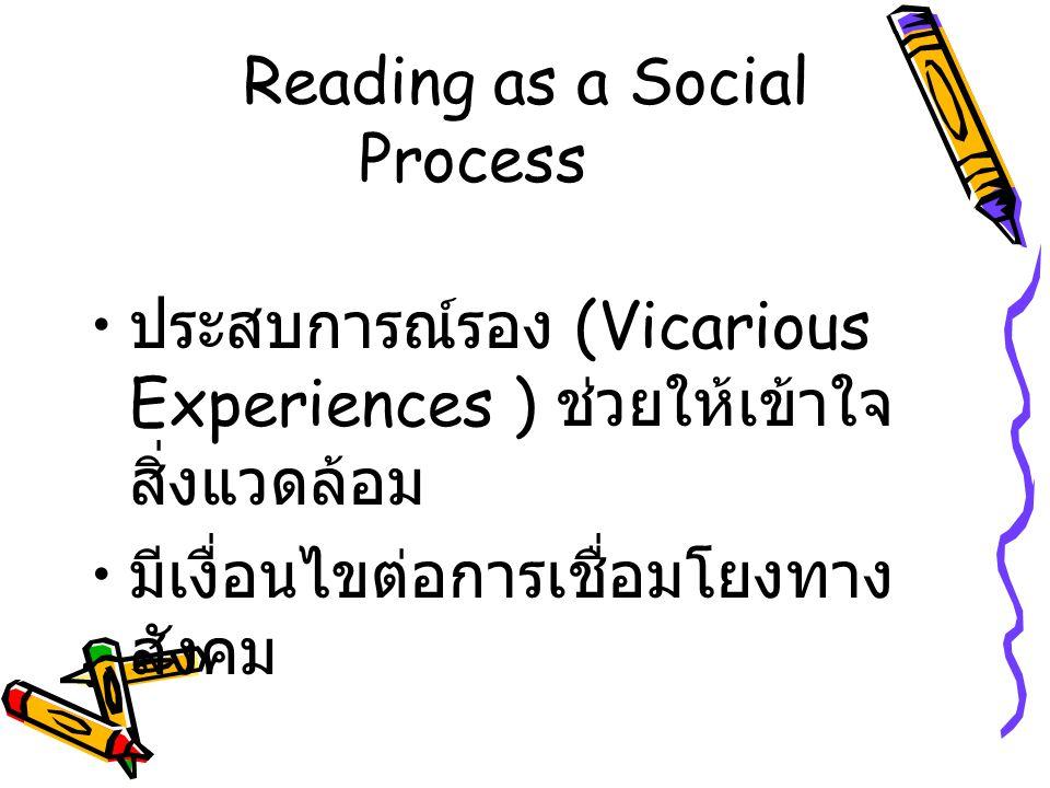 Reading as a Social Process ประสบการณ์รอง (Vicarious Experiences ) ช่วยให้เข้าใจ สิ่งแวดล้อม มีเงื่อนไขต่อการเชื่อมโยงทาง สังคม