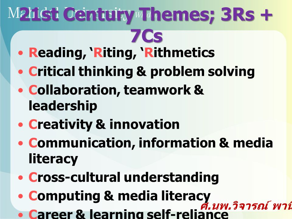 21st Century Themes; 3Rs + 7Cs Reading, 'Riting, 'Rithmetics Critical thinking & problem solving Collaboration, teamwork & leadership Creativity & inn