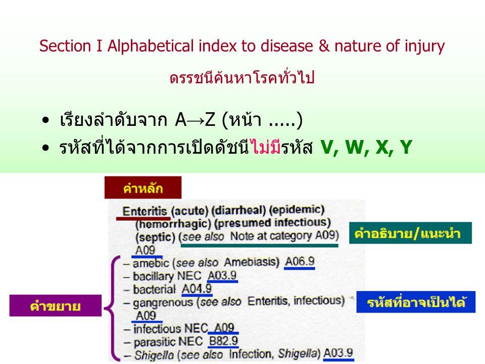 Section I Alphabetical index to disease & nature of injury ดรรชนีค้นหาโรคทั่วไป เรียงลำดับจาก A → Z (หน้า.....) รหัสที่ได้จากการเปิดดัชนีไม่มีรหัส V,