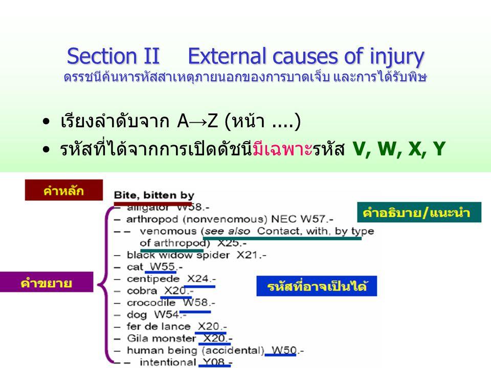 Section II External causes of injury ดรรชนีค้นหารหัสสาเหตุภายนอกของการบาดเจ็บ และการได้รับพิษ เรียงลำดับจาก A → Z (หน้า....) รหัสที่ได้จากการเปิดดัชนี