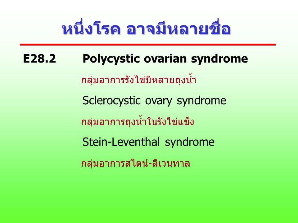 หนึ่งโรค อาจมีหลายชื่อ E28.2Polycystic ovarian syndrome กลุ่มอาการรังไข่มีหลายถุงน้ำ Sclerocystic ovary syndrome กลุ่มอาการถุงน้ำในรังไข่แข็ง Stein-Le