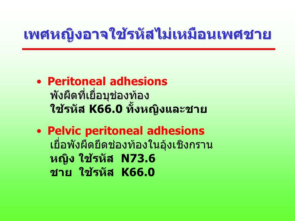 เพศหญิงอาจใช้รหัสไม่เหมือนเพศชาย Peritoneal adhesions พังผืดที่เยื่อบุช่องท้อง พังผืดที่เยื่อบุช่องท้อง ใช้รหัส K66.0 ทั้งหญิงและชาย Pelvic peritoneal
