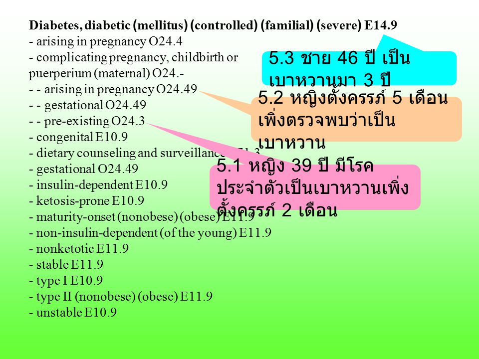 Diabetes, diabetic (mellitus) (controlled) (familial) (severe) E14.9 - arising in pregnancy O24.4 - complicating pregnancy, childbirth or puerperium (