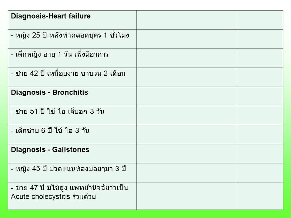 Diagnosis-Heart failure - หญิง 25 ปี หลังทำคลอดบุตร 1 ชั่วโมง - เด็กหญิง อายุ 1 วัน เพิ่งมีอาการ - ชาย 42 ปี เหนื่อยง่าย ขาบวม 2 เดือน Diagnosis - Bro
