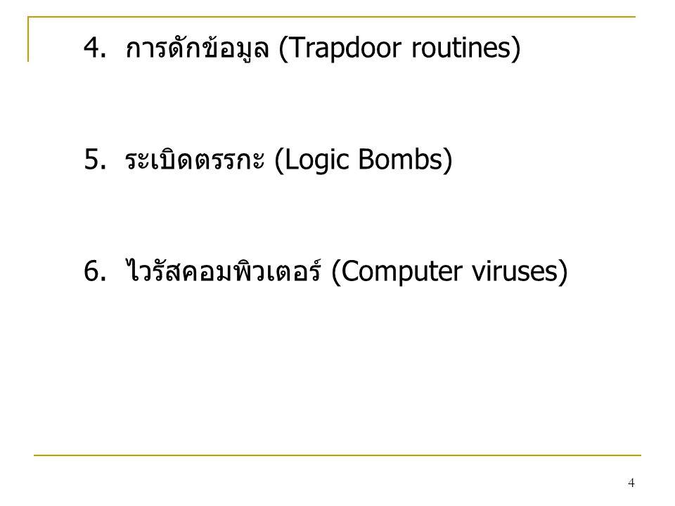 4 4. การดักข้อมูล (Trapdoor routines) 5. ระเบิดตรรกะ (Logic Bombs) 6. ไวรัสคอมพิวเตอร์ (Computer viruses)