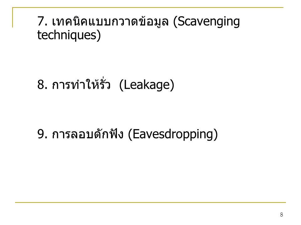 8 7. เทคนิคแบบกวาดข้อมูล (Scavenging techniques) 8. การทำให้รั่ว (Leakage) 9. การลอบดักฟัง (Eavesdropping)