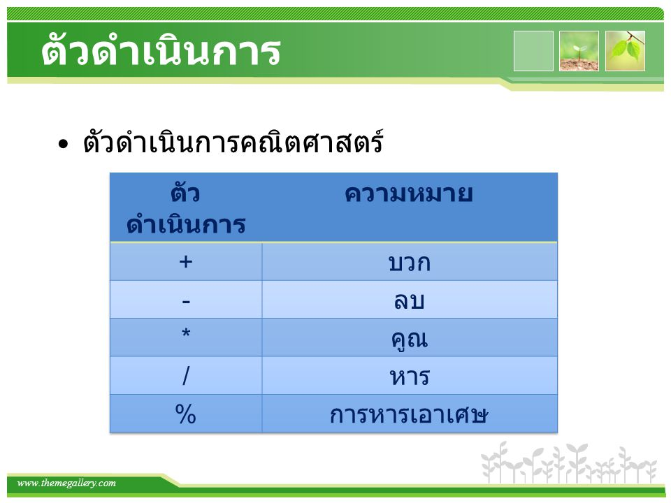 www.themegallery.com ตัวดำเนินการ ตัวดำเนินการคณิตศาสตร์ (a=10, b=2)