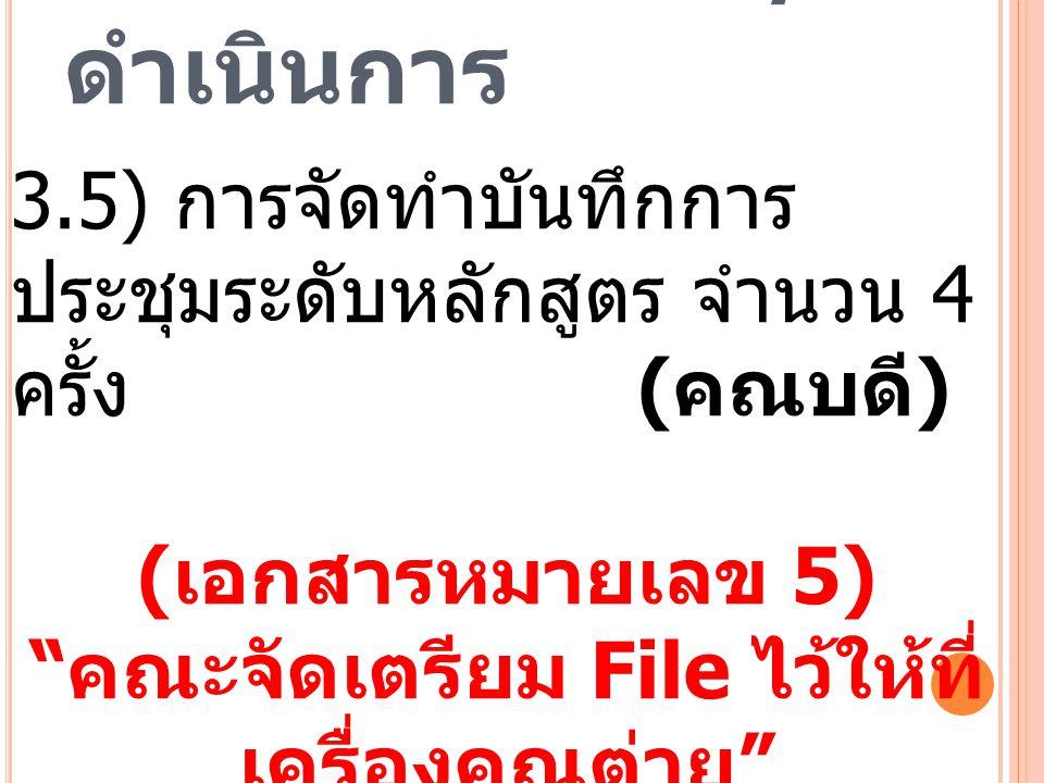 """3. วาระพิจารณา / ดำเนินการ 3.5) การจัดทำบันทึกการ ประชุมระดับหลักสูตร จำนวน 4 ครั้ง ( คณบดี ) ( เอกสารหมายเลข 5) """" คณะจัดเตรียม File ไว้ให้ที่ เครื่อง"""