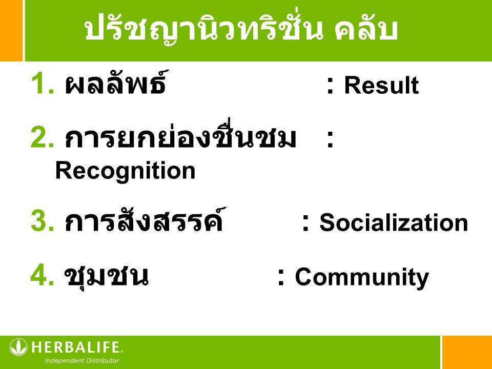 1. ผลลัพธ์ : Result 2. การยกย่องชื่นชม : Recognition 3. การสังสรรค์ : Socialization 4. ชุมชน : Community ปรัชญานิวทริชั่น คลับ