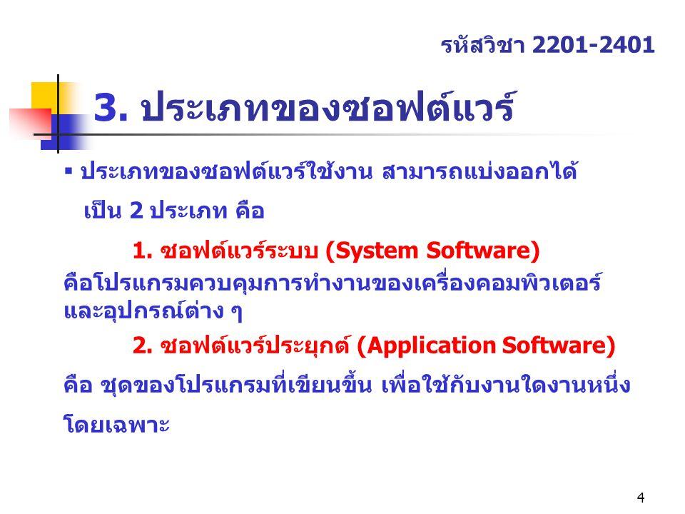 4 3. ประเภทของซอฟต์แวร์ รหัสวิชา 2201-2401  ประเภทของซอฟต์แวร์ใช้งาน สามารถแบ่งออกได้ เป็น 2 ประเภท คือ 1. ซอฟต์แวร์ระบบ (System Software) คือโปรแกรม