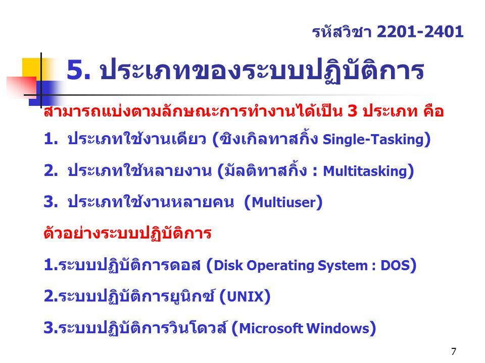 7 5. ประเภทของระบบปฏิบัติการ รหัสวิชา 2201-2401 สามารถแบ่งตามลักษณะการทำงานได้เป็น 3 ประเภท คือ 1.ประเภทใช้งานเดียว (ซิงเกิลทาสกิ้ง Single-Tasking ) 2