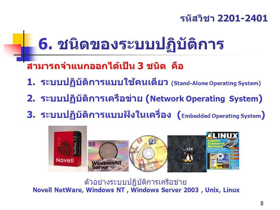 8 6. ชนิดของระบบปฏิบัติการ รหัสวิชา 2201-2401 สามารถจำแนกออกได้เป็น 3 ชนิด คือ 1.ระบบปฏิบัติการแบบใช้คนเดียว (Stand-Alone Operating System) 2.ระบบปฏิบ