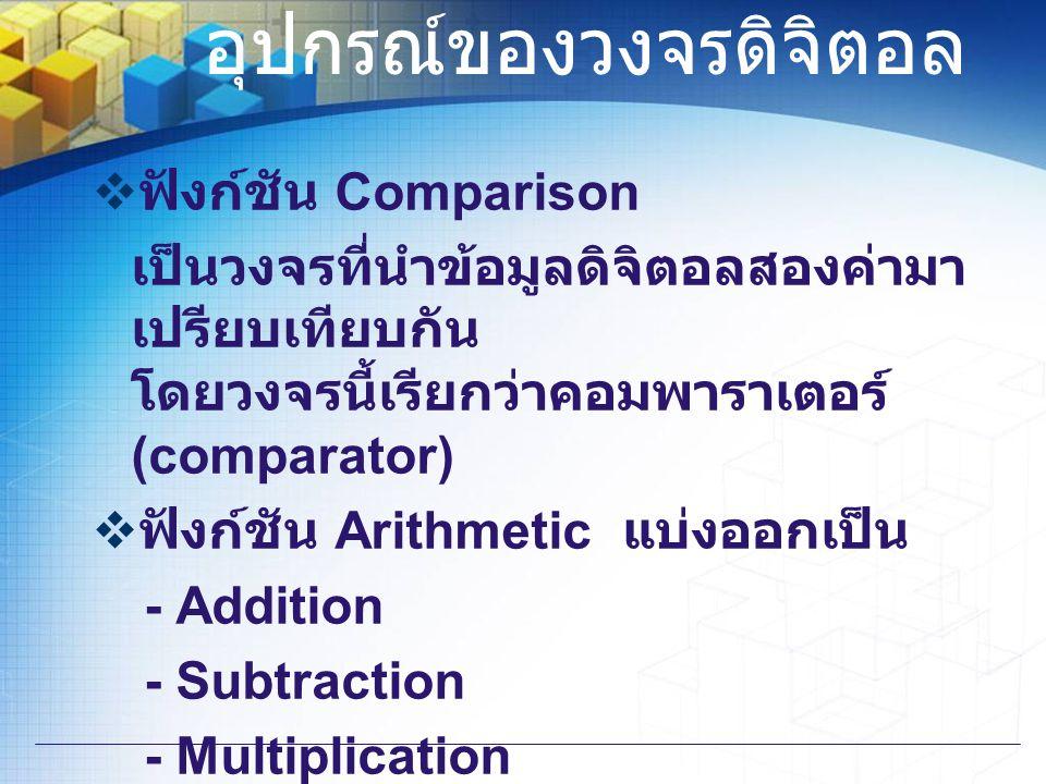 อุปกรณ์ของวงจรดิจิตอล  ฟังก์ชัน Comparison เป็นวงจรที่นำข้อมูลดิจิตอลสองค่ามา เปรียบเทียบกัน โดยวงจรนี้เรียกว่าคอมพาราเตอร์ (comparator)  ฟังก์ชัน A