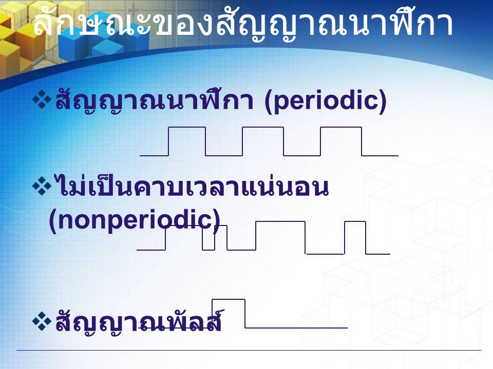 ลักษณะของสัญญาณนาฬิกา  สัญญาณนาฬิกา (periodic)  ไม่เป็นคาบเวลาแน่นอน (nonperiodic)  สัญญาณพัลส์