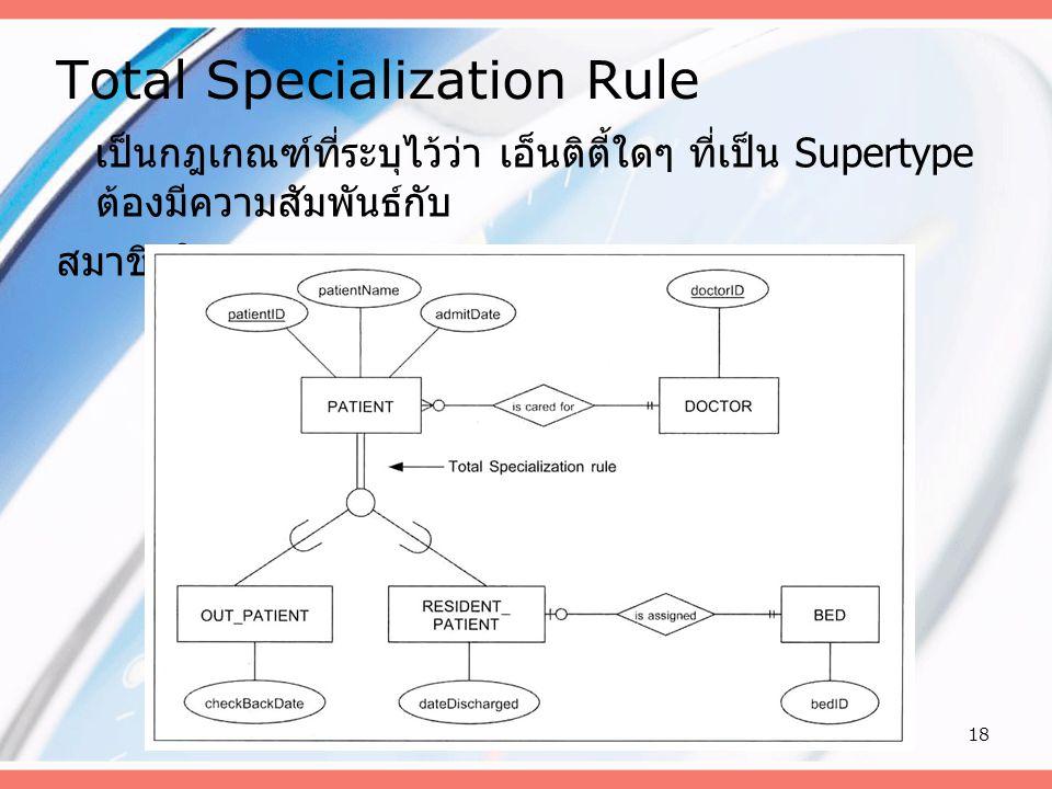 18 Total Specialization Rule เป็นกฎเกณฑ์ที่ระบุไว้ว่า เอ็นติตี้ใดๆ ที่เป็น Supertype ต้องมีความสัมพันธ์กับ สมาชิกใน Subtype