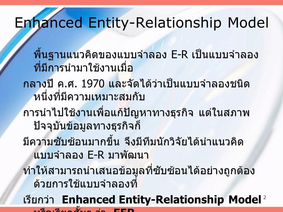 2 Enhanced Entity-Relationship Model พื้นฐานแนวคิดของแบบจำลอง E-R เป็นแบบจำลอง ที่มีการนำมาใช้งานเมื่อ กลางปี ค. ศ. 1970 และจัดได้ว่าเป็นแบบจำลองชนิด