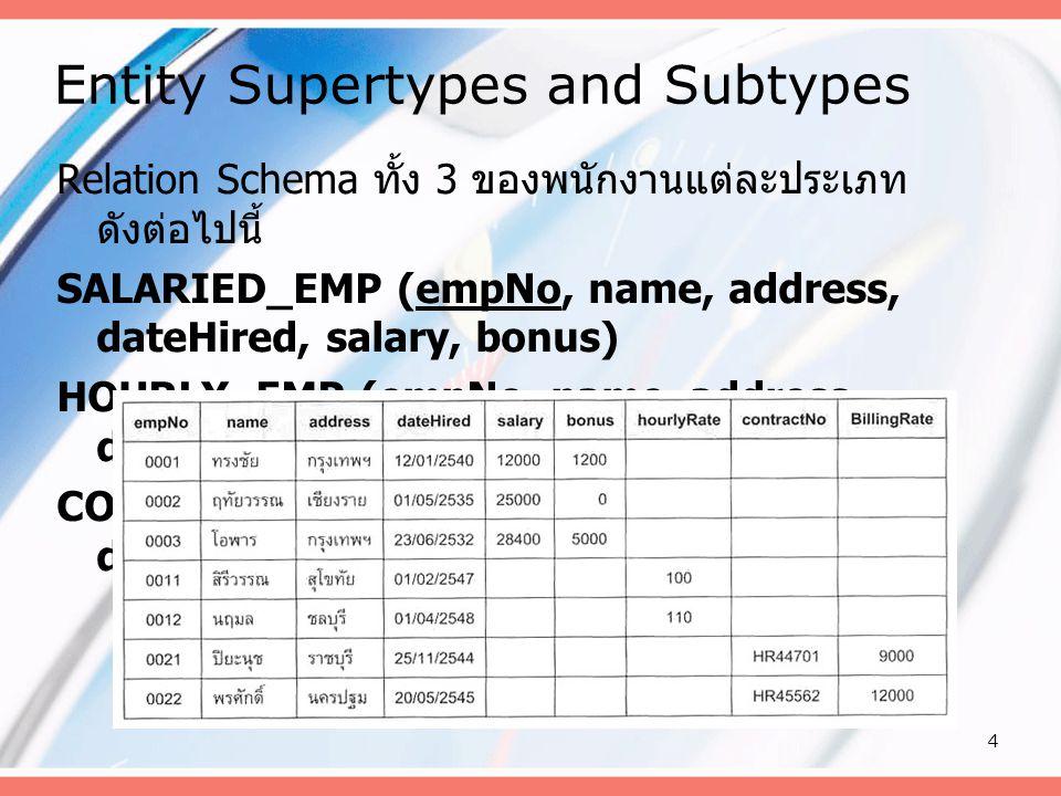 4 Entity Supertypes and Subtypes Relation Schema ทั้ง 3 ของพนักงานแต่ละประเภท ดังต่อไปนี้ SALARIED_EMP (empNo, name, address, dateHired, salary, bonus