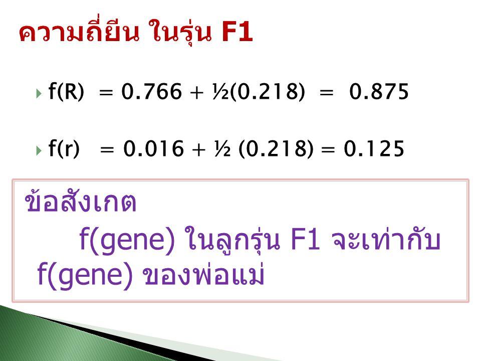  f(R) = 0.766 + ½(0.218) = 0.875  f(r) = 0.016 + ½ (0.218) = 0.125 ข้อสังเกต f(gene) ในลูกรุ่น F1 จะเท่ากับ f(gene) ของพ่อแม่