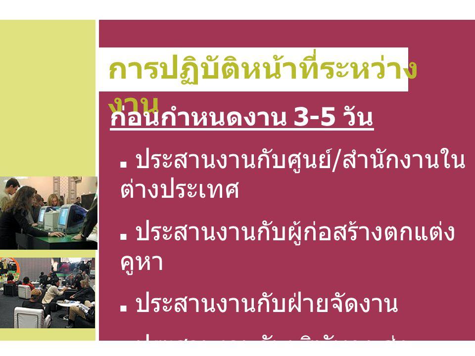 การปฏิบัติหน้าที่ระหว่าง งาน ก่อนกำหนดงาน 3-5 วัน ประสานงานกับศูนย์ / สำนักงานใน ต่างประเทศ ประสานงานกับผู้ก่อสร้างตกแต่ง คูหา ประสานงานกับฝ่ายจัดงาน