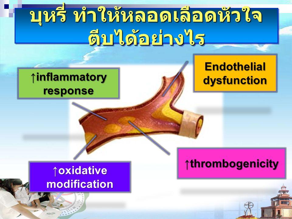บุหรี่ ทำให้หลอดเลือดหัวใจ ตีบได้อย่างไร Endothelial dysfunction ↑thrombogenicity ↑inflammatory response ↑oxidative modification