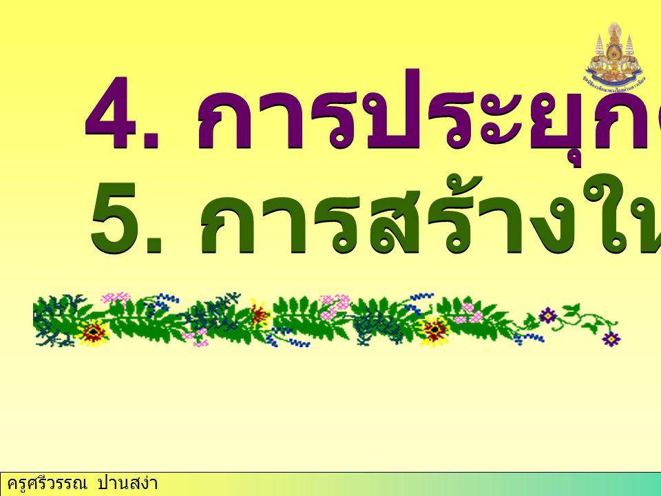 ครูศรีวรรณ ปานสง่า ระดับภูมิ ปัญญา 1. ภูมิปัญญาท้องถิ่น 2. ภูมิปัญญาชาติ 3. ภูมิปัญญาสากล