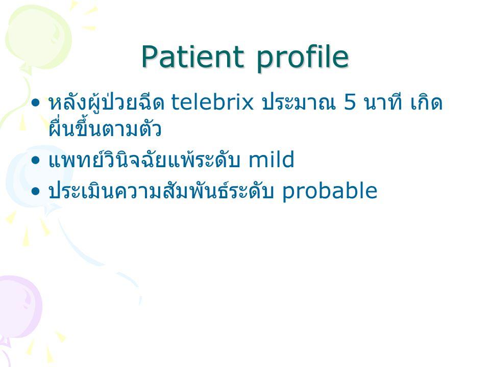 Patient profile หลังผู้ป่วยฉีด telebrix ประมาณ 5 นาที เกิด ผื่นขึ้นตามตัว แพทย์วินิจฉัยแพ้ระดับ mild ประเมินความสัมพันธ์ระดับ probable