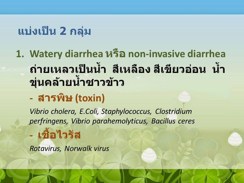 1.Watery diarrhea หรือ non-invasive diarrhea ถ่ายเหลวเป็นน้ำ สีเหลือง สีเขียวอ่อน น้ำ ขุ่นคล้ายน้ำซาวข้าว - สารพิษ (toxin) Vibrio cholera, E.Coli, Sta