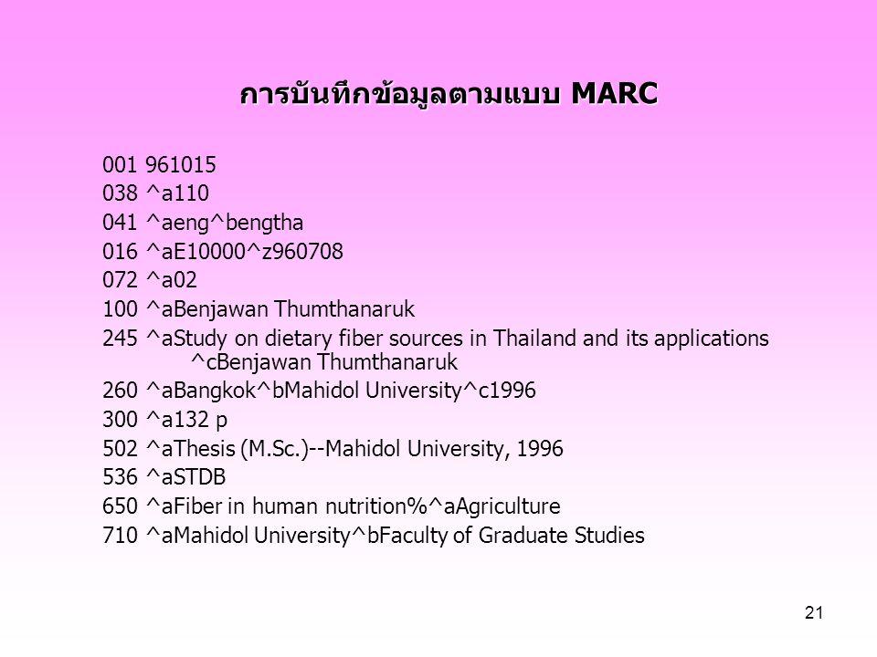 21 การบันทึกข้อมูลตามแบบ MARC 001 961015 038 ^a110 041 ^aeng^bengtha 016 ^aE10000^z960708 072 ^a02 100 ^aBenjawan Thumthanaruk 245 ^aStudy on dietary