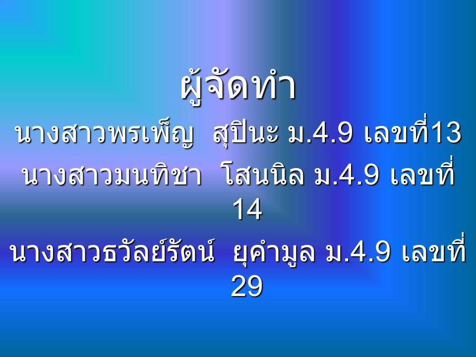 ผู้จัดทำ นางสาวพรเพ็ญ สุปินะ ม.4.9 เลขที่ 13 นางสาวมนทิชา โสนนิล ม.4.9 เลขที่ 14 นางสาวธวัลย์รัตน์ ยุคำมูล ม.4.9 เลขที่ 29