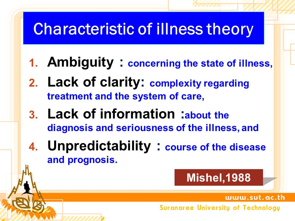 Characteristic of illness theory 1.Ambiguity : concerning the state of illness, 2.