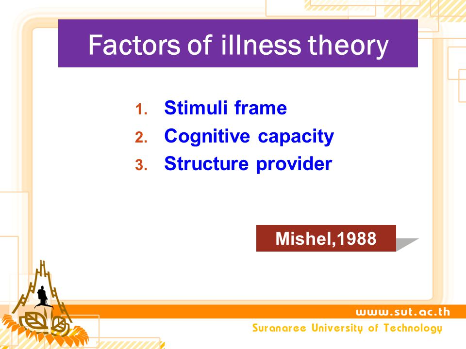 Factors of illness theory 1. Stimuli frame 2. Cognitive capacity 3. Structure provider Mishel,1988