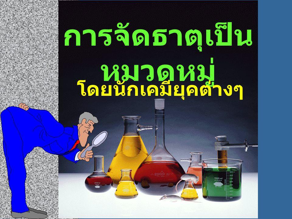 การจัดธาตุเป็น หมวดหมู่ โดยนักเคมียุคต่างๆ