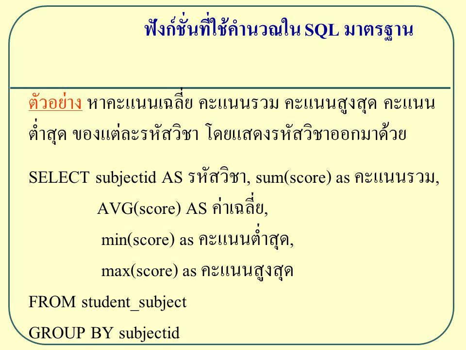 ตัวอย่าง หาคะแนนเฉลี่ย คะแนนรวม คะแนนสูงสุด คะแนน ต่ำสุด ของแต่ละรหัสวิชา โดยแสดงรหัสวิชาออกมาด้วย SELECT subjectid AS รหัสวิชา, sum(score) as คะแนนรวม, AVG(score) AS ค่าเฉลี่ย, min(score) as คะแนนต่ำสุด, max(score) as คะแนนสูงสุด FROM student_subject GROUP BY subjectid ฟังก์ชั่นที่ใช้คำนวณใน SQL มาตรฐาน