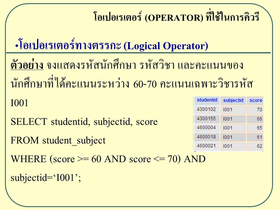 ตัวอย่าง จงแสดงรหัสนักศึกษา รหัสวิชา และคะแนนของ นักศึกษาที่ได้คะแนนระหว่าง 60-70 คะแนนเฉพาะวิชารหัส I001 SELECT studentid, subjectid, score FROM student_subject WHERE (score >= 60 AND score <= 70) AND subjectid='I001'; โอเปอเรเตอร์ (OPERATOR) ที่ใช้ในการคิวรี โอเปอเรเตอร์ทางตรรกะ (Logical Operator)